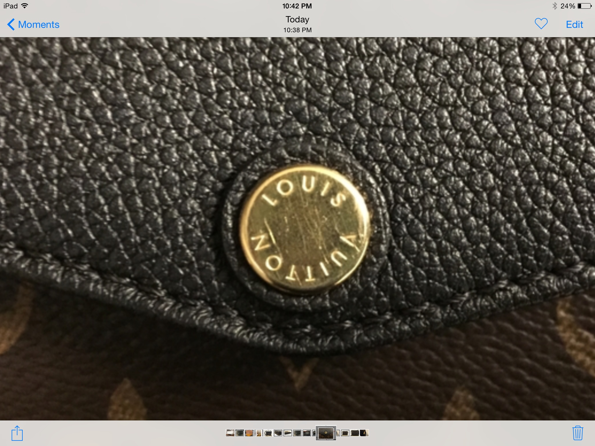f9736f2f3b23 ... authenticity because the letters on the lv label look worn off. It  doesn t look like a heat stamp. Can you help me  It s made in the USA.  Thank you.