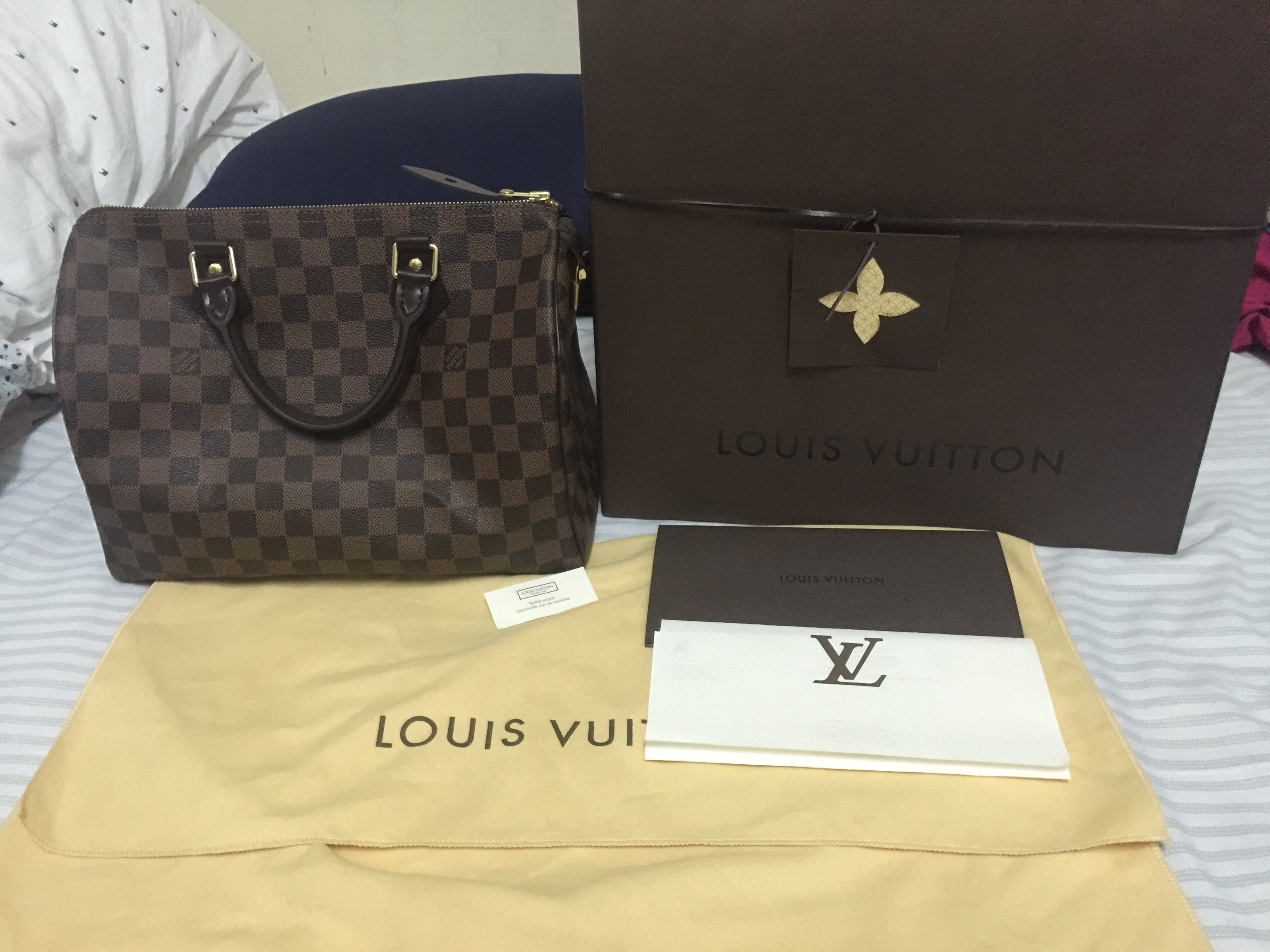 9c3348a8dba It is speedy 30 damier ebene size 30. The bag is new. The seller advised me  to go to lv store for heat stamping for authentication.