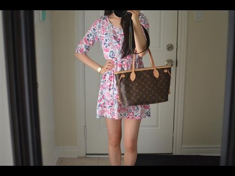 e124c80987dd One is of a girl modeling a Louis Vuitton PM Neverfull monogram bag