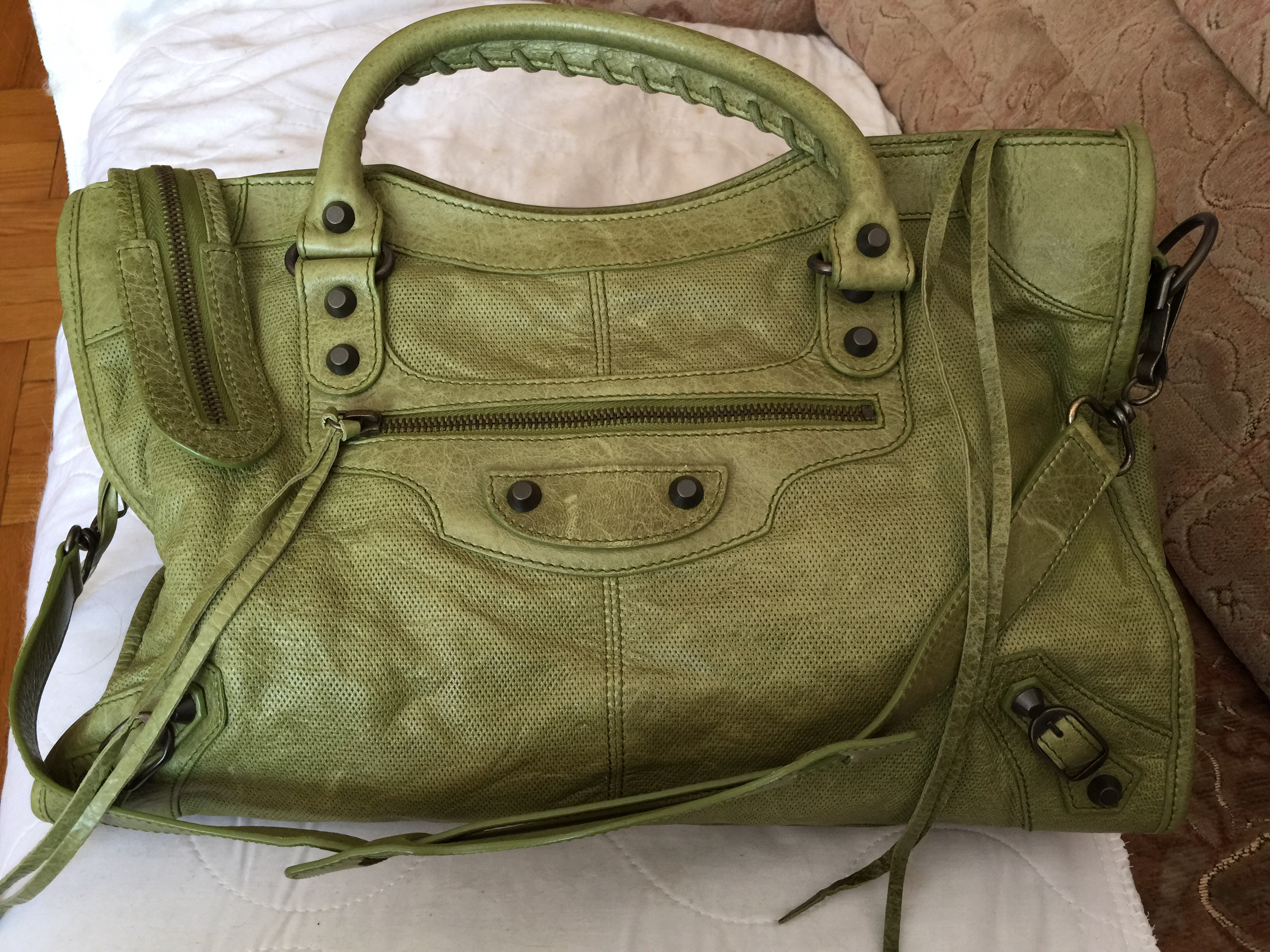 a23cb1bc6099 Forest Green Balenciaga City bag in perforated lambskin leather ...